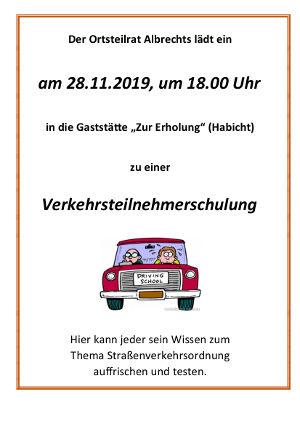 Einladung Verkehrsteilnehmerschulung
